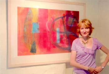 Art tutor Ann Marie Foster with one of her artworks