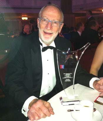 Professor Cooper with his award for Lifetime Achievement