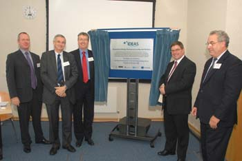From left: Jeremy Howells (Manchester), Jon Saunders (Liverpool), Lancaster's VC Prof Paul Wellings, Iain Gray (TSB) and Colin Whitehouse (STFC)