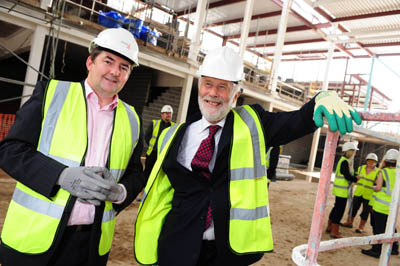 Left is Mark Swindlehurst, Lancaster University's director of facilities and right is Sir Christian Bonington, the University's Chancellor.