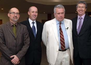 Prof Christopher May, Dr Feargal Cochraine, Martin Bell and Vice Chancellor Prof Paul Wellings