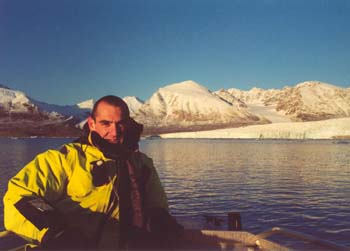Dr Denton during a previous research visit to the Arctic to deploy particle monitoring equipment