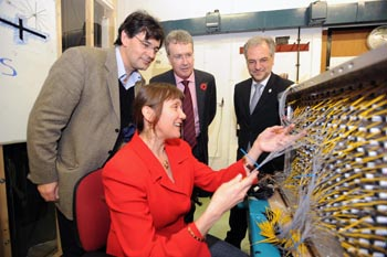 Dr Laura Kormos and from left Professor Peter Ratoff, Vice-Chancellor Professor Paul Wellings and Pro-Vice Chancellor for Research Professor Trevor McMillan