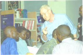 Graham Mort runs a writing workshop in Uganda
