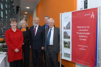 from left:Centre Director Dr Gillian Lancaster, Prof Mary Smyth, Chancellor Sir Christian Bonington, Vice Chancellor Prof Paul Wellings, Prof Sir David Cox