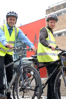 Jon Mills and Philip Longton get on their bikes for the environment