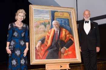 HRH Princess Alexandra and Sir Christian Bonington with the painting