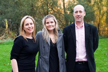Dr Victoria Mason and Dr Feargal Cochrane with Sophie McNeill (centre)